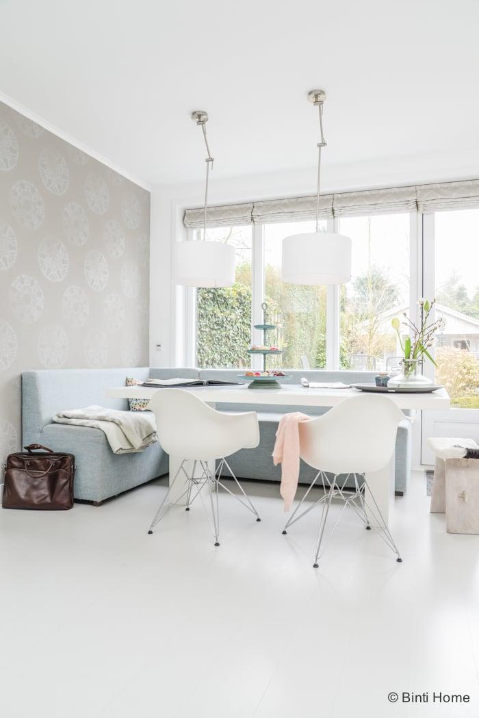 Interieurinspiratie eetkamer uitbouw pastelkleuren ©BintiHome 2