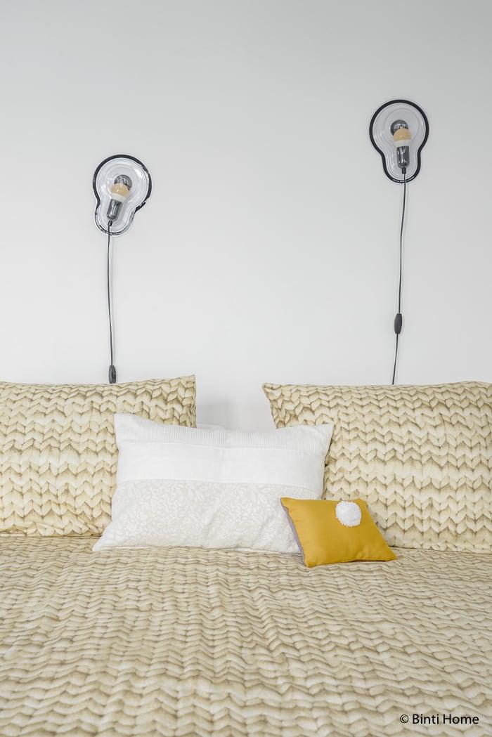 Interieurinspiratie moderne slaapkamer kussens maria giacinthi snurk beddengoed ©BintiHome
