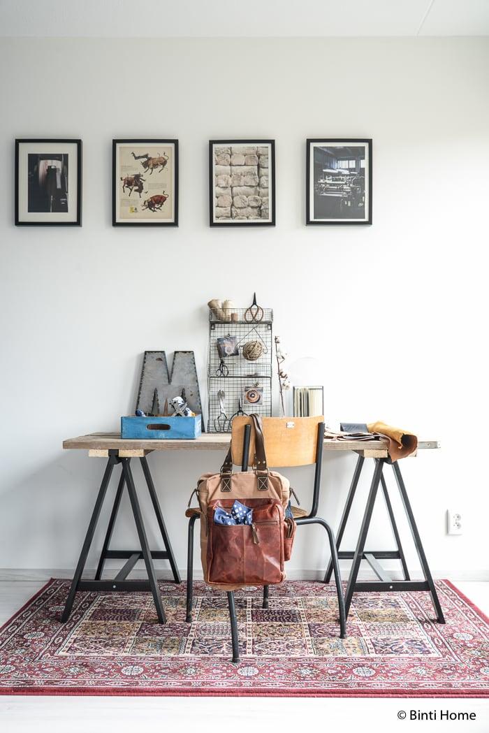 Interieurinspiratie werkkamer denim industrieel ©BintiHome