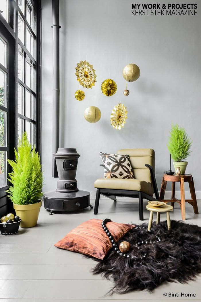 Kerststyling decoraties zwart goud groen Stek magazine ©BintiHome