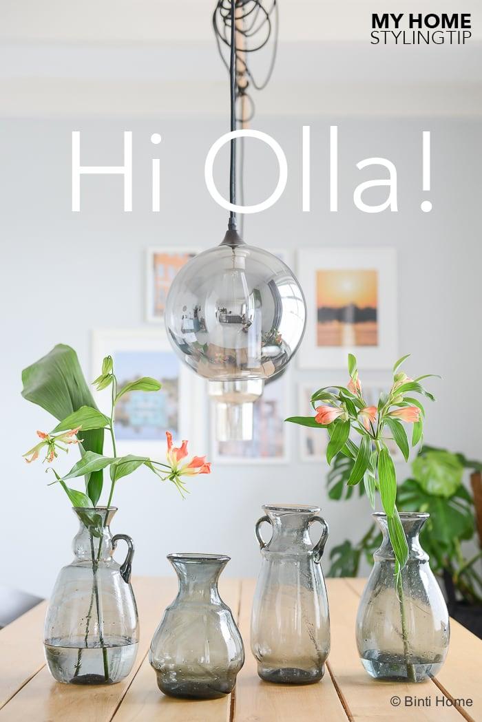 Mondgeblazen vaas gerecycled glas Cairo Olla vaas grijs ©BintiHomeblog