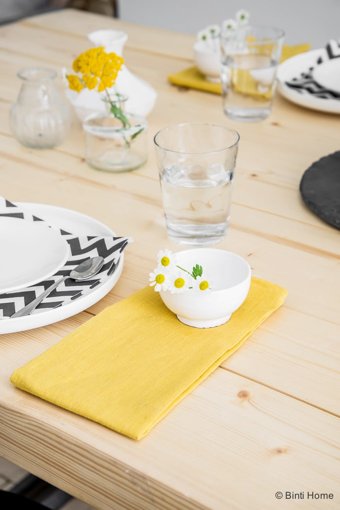 Spring Table styling with ocher yellow black and white ©BintiHome