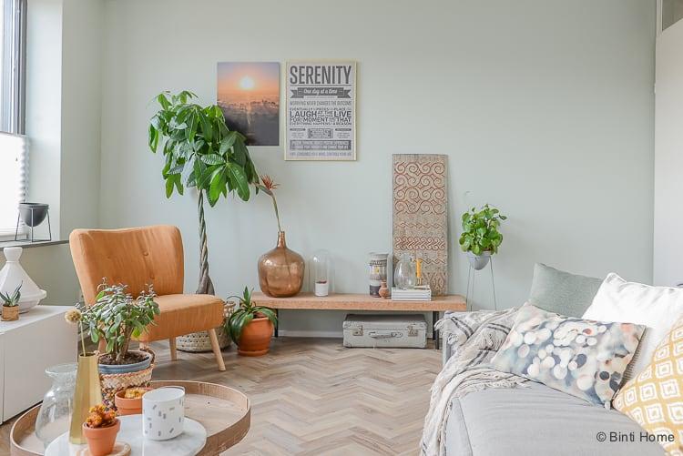 Kleur groen op de muur Woonkamer make over shop the look ©BintiHome