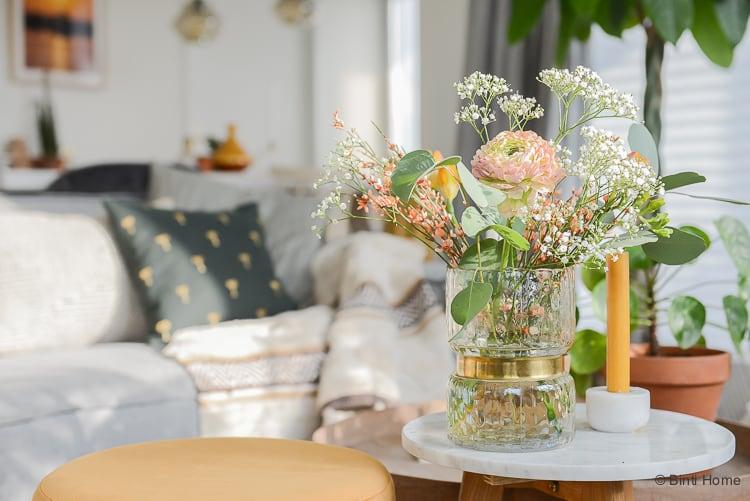 Ontdek je woonstijl woonkamer inrichten in de woonstijl Bohemian chic brass trend ©BintiHome-2