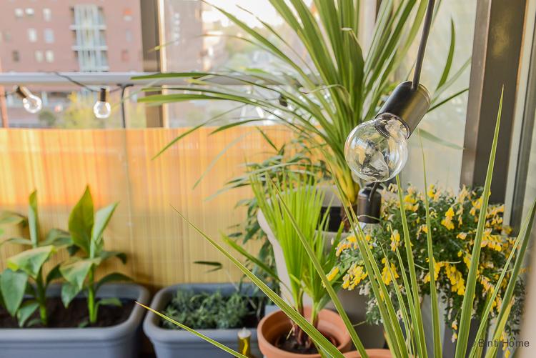 Balkon inspiratie klein balkon inrichten met veel planten led verlichting buiten ©BintiHome