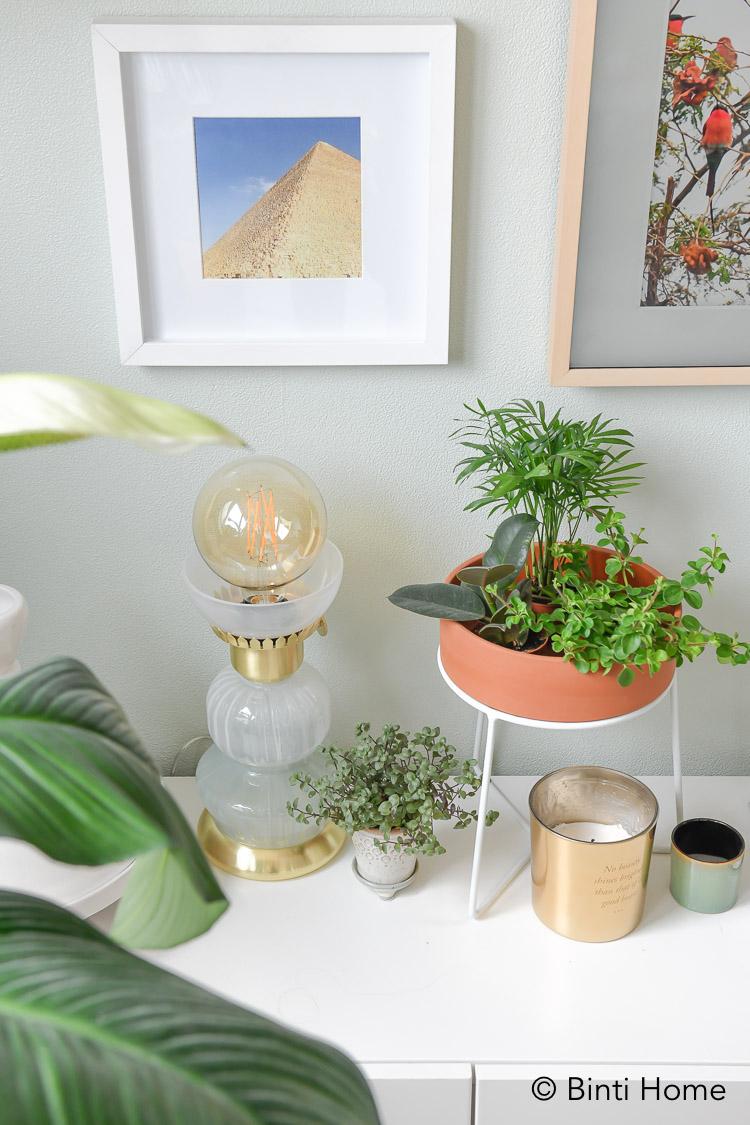 Mijn eigen oosterse tafellamp van glas en goud ontworpen